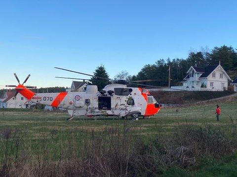 SEA KING: Et Sea King redningshelikopter ble rekvirert til ulykkesstedet, men kvinnens liv sto dessverre ikke til å redde.