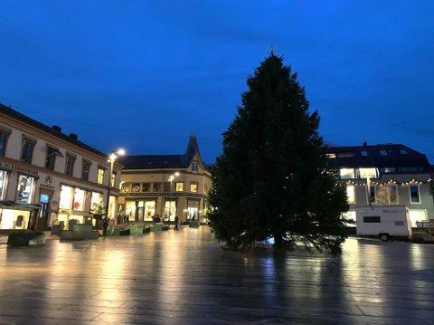 HEI, HÅ! NÅ ER DET JUL IGJEN: Julegrana er på plass, og på lørdag skjer den litt utradisjonelle julegrantenninga.