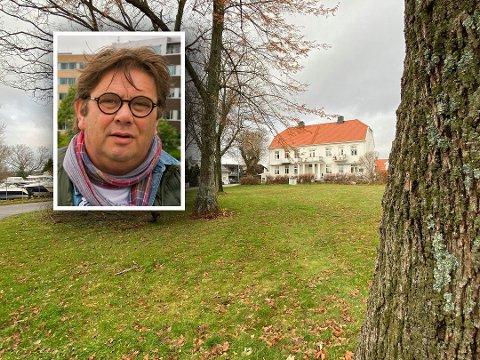 HISTORISK MILJØ: Den kommunale tomta i forkant av Tschudigården ble solgt for 2,2 millioner kroner. Per Martin Aamodt (Ap) er klar på at det ikke blir funkisarkitektur her.