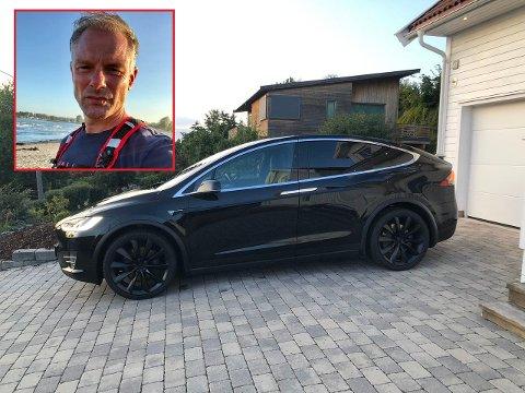 PROBLEMBIL: Gøran Hillestad har lagt ut sin Tesla model X for salg, men har ikke samvittighet til virkelig å selge den. Bilen har nemlig vært  ett stort problem siden han fikk den i 2017. – Annonsen er mer et utløp for min frustrasjon, sier tønsbergmannen.