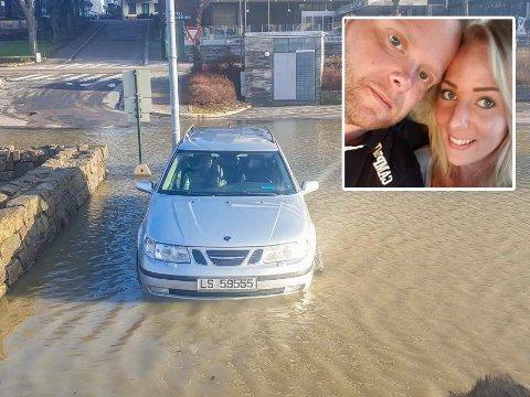 Andre Johannessen og Elin Åsnes fikk en mildt sagt deprimerende avslutning på helgen i Tønsberg. Ved Honnørbrygga druknet bilen deres i de store vannmassene mandag.