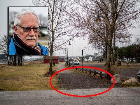 ØNSKER FORBEDRING: Bjørn-Eddy Andersen (75) skulle ønske strandpromenaden på Ringshaugstranda ble rustet opp.