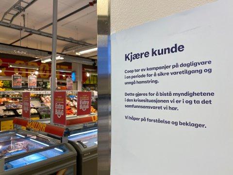 AVLYST: For å hindre at mange handler samtidig, har Coop Norge stoppet markedsføringene av kampanjetilbudene sine.