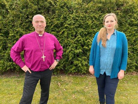 Biskop Jan Otto Myrseth og Christina Grefsrud-Halvorsen ønsker at Vestfold-kommunene sier ja til å ta imot enslige barn og barnefamilier fra Moria flyktningleir.
