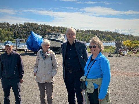 KLART NEI: Richard Fossum (Sp), Randi Hagen Fjellberg (MDG), Jørn Magdahl (Rødt) og Tone Kalheim (SV) vil si nei til bygging i Brua-området uansett.