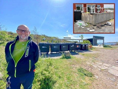 MYE SØPPEL: Stig Are Molden foran miljøstasjonen på Østre Bolærne. Til tross for mange søppelkasser finner vaktmesteren mye søppel omkring på øya.