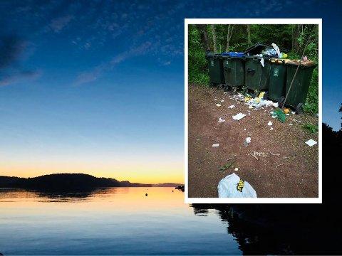 KONTRAST: Det renner over med søppel når hyttegjestene kommer til Veierland, mener Kari Magee. Her i grell kontrast til midtsommeridyllen fotografert av Tønsbergs Blad for noen år siden.
