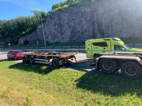 Ulykken skjedde like ved Stenbjørnrødtunnelen på E18.