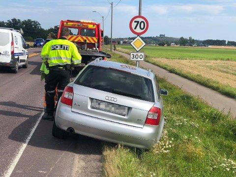 ULYKKE: Bilen ble hentet av bilberger klokken 15.37.