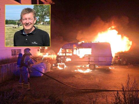 Øyvind Fjeld i Ringshaug og Gårdbo vel er bekymret etter flere påsatte branner i området den siste tiden. Her fra en bobilbrann i Gårdbokrysset forrige uke.
