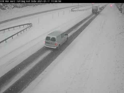 Slik ser det ut på de største veiene i Vestfold akkurat nå. Her fra Hemtunnelen i Tønsberg.