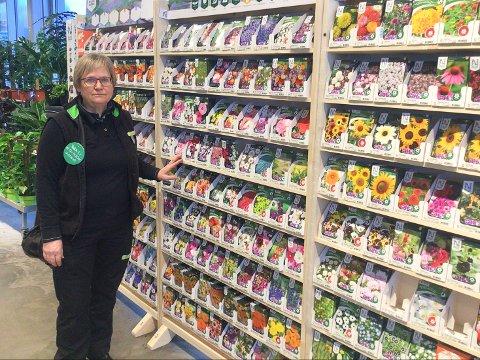 HAGEBONANZA: Det nye hagesenteret til Felleskjøpet på Barkåker sto ferdig i slutten av oktober i 2018. Det har blitt en enorm suksess. – I fjor hadde vi en økning i salget av planter på 20 prosent. Hagearbeid har blitt populært, sier butikksjef Hanna Elisabeth Andersen.