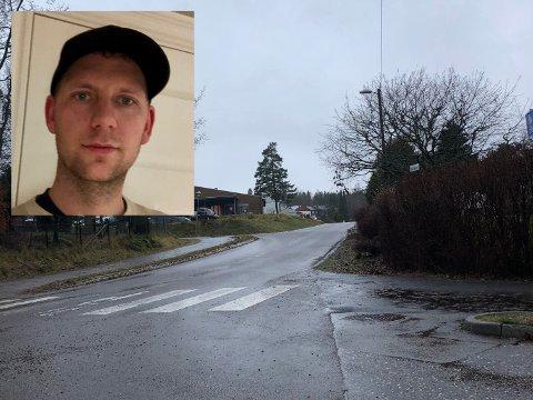 HØY FART: Det er ved dette overgangs feltet mellom Årfuglveien og Hektors vei at det nesten har gått galt. – Det er mye bråbremsing rett før fotgjengerfeltet, sier Henrik Klubben.
