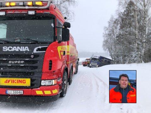 TRAVEL DAG: Nærmere 100 oppdrag har det så langt blitt for Vestfold Bilberging i løpet av onsdag 17. februar, forteller vaktsjef Per Richard Larsen.