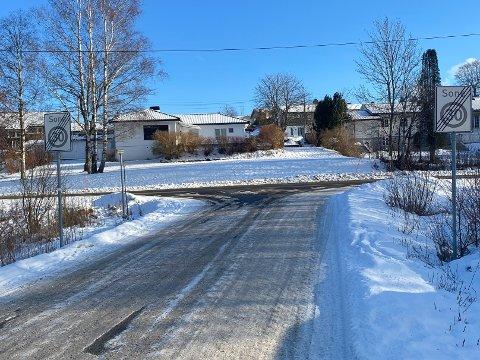 SKAPER REAKSJONER: En beboer på Vear reagerer på skiltingen av fartsgrensene i området. Bildet viser utkjøringen til Bekkeveien fra Røsslyngveien.