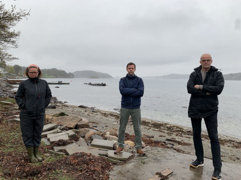 MÅ STRAFFES HARDERE: Cathrine Palm Spange, Truls Vasvik og Jon Sanness Andersen foran det sprengte skjæret i Glomsteinveien 50. Straffene for miljøkriminalitet er for lave, mener de.