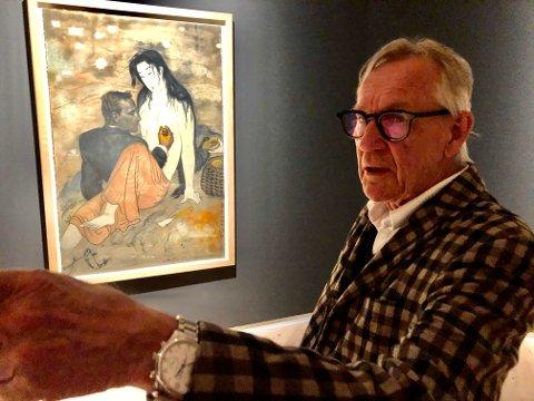 SPENSTIG: Det er den figurative kunstmaleren Svein Bolling har fått æren av å være årets «sommerutstiller» på Haugar Kunstmuseum.  I bakgrunnen, et selvportret med Abalonedykker,etter utamaro.