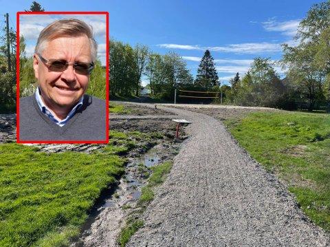 GJØRMETE OG UFERDIG: Slik ser det ut i Laskenhavna nå. At parken ennå ikke er ferdig irriterer semsbyboer og Høyre-politiker Ole Sverre Lund.