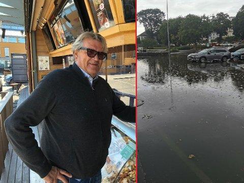 VÅTT: «Beklager må stenge litt tidlig» sto det over bildet av oversvømmelsen på Facebook-siden til Roar i bua. Roar Kokvik sier det ikke er første gang det blir oversvømmelse på plassen foran restauranten hans på Brygga.