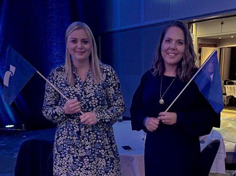 GOD STEMNING: Lene Westgaard-Halle melder om god stemning på valgvaken i Oslo. Her sammen med olje- og energiminister Tina Bru.