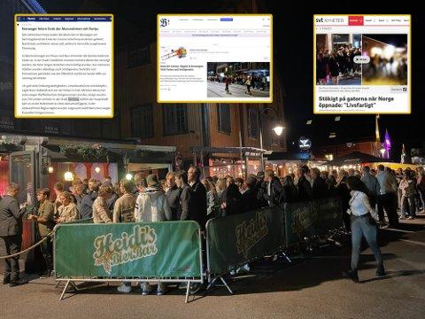 Den voldsomme feiringen av gjenåpningen i Tønsberg fikk utenlandsk presse til å rydde forsidene. Her fra køen utenfor Heidi's Bier Bar på Brygga.