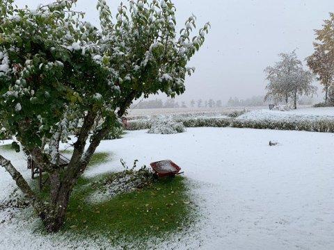 SNØ: Slik så det ut på Bøverbru 3. oktober.