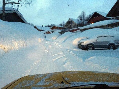 Slik så det ut i Einevegen for ikke mange dagene siden. Bildet er tatt av en av Bydrifts sjåfører.