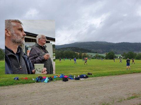 BREDDEKAMP: Andreas Selliaas (til venstre på det innfelte bildet) tok med pappa Arnt-Erik til Beitstad stadion for å overvære treningskampen mellom 6.-divisjonslagene Beitstad og Inderøy lørdag.