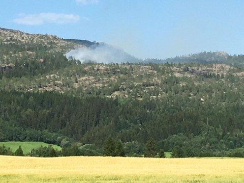 SAMME STED: På samme sted som lyet slo ned onsdag kveld har det nå begynt å brenne i et området på rundt 300 ganger 300 meter.