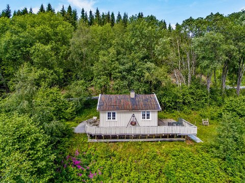 BILLIGST: Denne hytta har nå blitt den billigste fritidseiendommen på Innherrred. Den er nå til salgs for 250.000 kroner. Eiendomsmegler1 har ansvaret for visningen mandag 16.august.