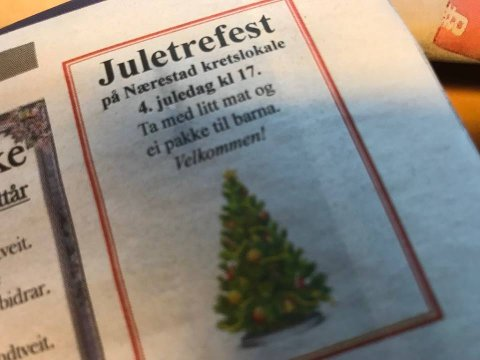 Denne annonsen viser riktig: Juletrefesten er i dag.