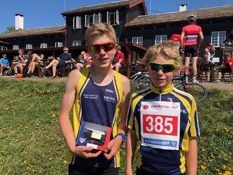 Tor og Vemund Myhre fra Vegårshei i målområdet på Grefsenkollen i Oslo. De kom på henholdsvis 1. og 3. plass i sine klasser i dette løpet. Privat foto