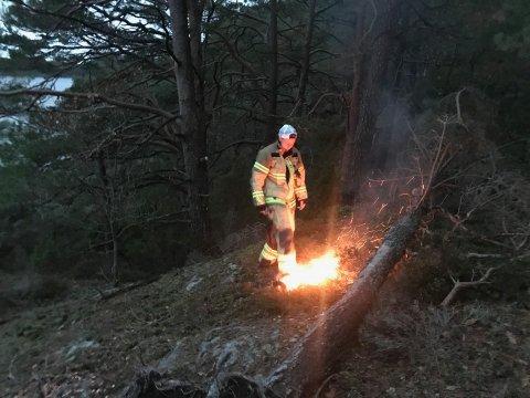 Forlatt bål: En festkveld på Gjesøya var uten folk.  Brannvesenet kom for å ordne opp.