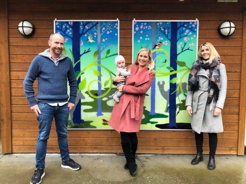Skal jobbe tett sammen: Disse tre skal jobbe sammen som avdelingsledere. (f.v) Kjell Rune Løvdal, Linda Gåstjenn (med Ingrid 5 mnd på armen) og Kristina Waagestad.