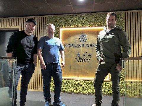A67 Invest: (f.v) Simon Aas Skaarup, Jo Eike og Geir Byvold gjør seg klare til å bygge mer på Grenstøl. Nå kommer Grenstøl Park. Foto: Siri Fossing