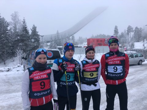 Morgendagens helter står det på brystet til deltakerne i Kong Haralds Ungdomsstafett. Fra venstre Nora Levang (Gjesdal), Tor Myhre (Vegårshei), Hedda Opdahl Vigen (Hjelmeland) og Magnus Bjerkreim (Hjelmeland).