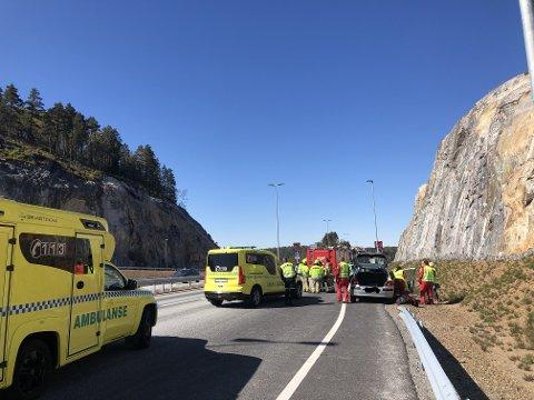 Kolliderte: En bil og en motorsykkel var i ettermiddag involvert i en ulykke utenfor Tvedestrand.