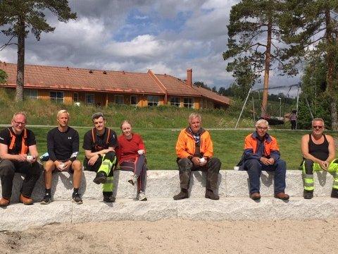 Dugnadsgjengen fra KrF-gruppa. Ordfører Kjetil Torp er helt til venstre i bildet.