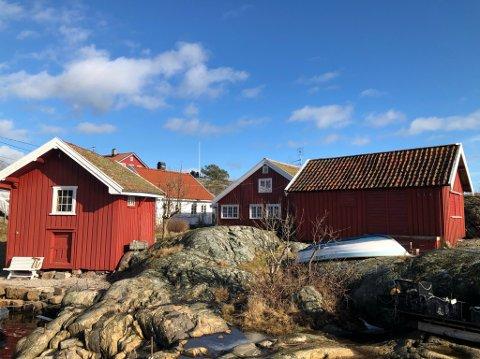 Ved sjøkanten: Eiendommen Neset ligger helt i sjøkanten på Narestø. Det er de to røde byggene til høyre i bildet som er Neset.