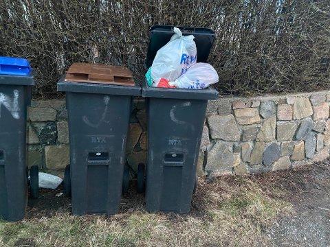 Glemmer du å sette ut søppeldunkene på rett dag ender det gjerne sånn som dette.