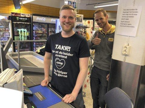 Suksessen fortsetter:  Jan Runar Kilen er en av de som har vært ansatt på Prix i mange år, men butikksjef Tom Eivind Hansen må stadig utvide besetningen. Nå er det femten ansatte i butikken: — Jeg skal ha et nytt jobbintervju i dag, forteller han da Tvedestrandsposten snakker med han.