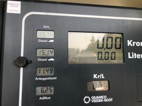 Billigst: På Slotta fyller du den rimeligste avgiftsfrie dieselen. Foto: Privat