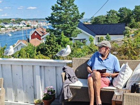 Sommerro: Sverre Johan Kvale nyter sommerferien i Lyngør, og det gjør måka Jonathan med kjæresten og.