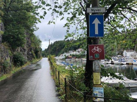 Det er enveiskjøring ut Nyvei, men beboerne på Loggen Brygge mener det også bør settes opp skilt som tydelig forteller at  fartsgrensen er 30 km/t.