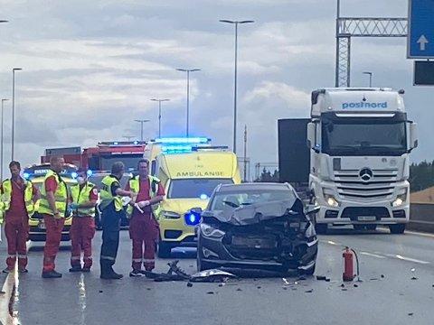 Alle nødetatene rykket ut til ulykken ved 17-tiden i ettermiddag. Foto: OIav Loftesnes