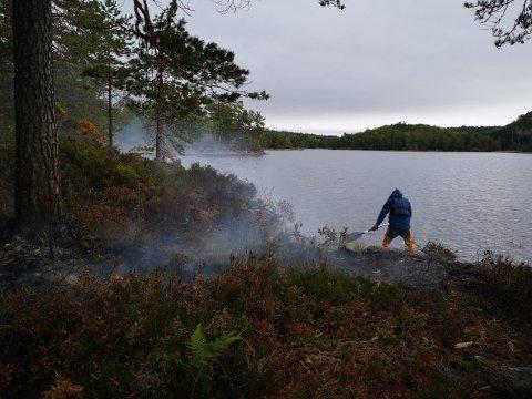 Padleåre og svamp: Stein og Kari Vyrje brukte det de hadde da de oppdaget brann på en holme i Øynesvann.