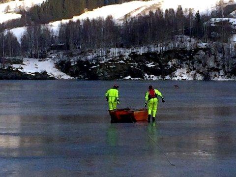 Gode hjelaparar: Nord-Aurdal brannvesen berga søndag eit rådyr som hadde gått gjennom isen litt nord for Ulnesbrua.arkivfoto: ivar svensson