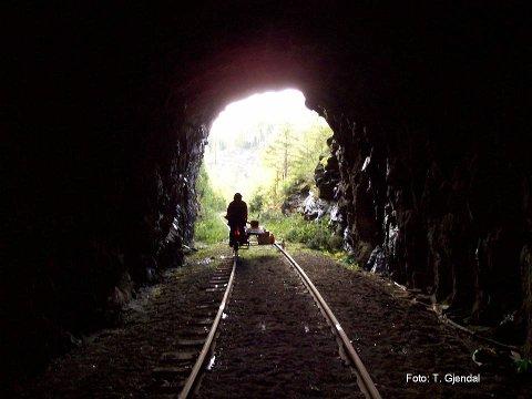 Valdresbanen: Dresin på vei gjennom tunnel.