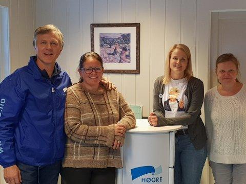 Fra Venstre: Olav Kristian Huseby, Kari-Anne Jønnes (fylkesordførerkandidat for Innlandet Høyre), Magnhild Huseby Bolstad og Kari-Anne Rustebakke.