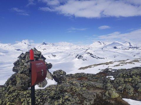 Flott utsyn: Turkassa på plass på Tyinholmenutsikten (1480 m). Hjelledalstinden (t.v.) og Falketind over kassa, Uranostinden meir mot høgre.